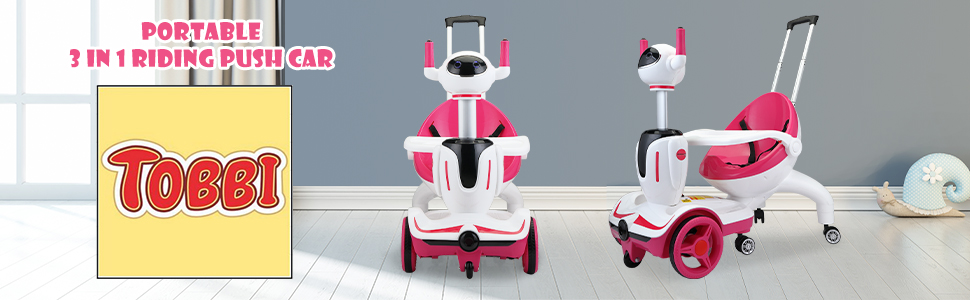 Three-in-one Robot Kids Electric Buggy With Remote Control & Baby Carriages, Rose Red + White 11 10