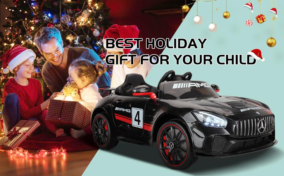 12V Electric Licensed Mercedes Benz AMG GT Kid Ride on Car, Black 11 18