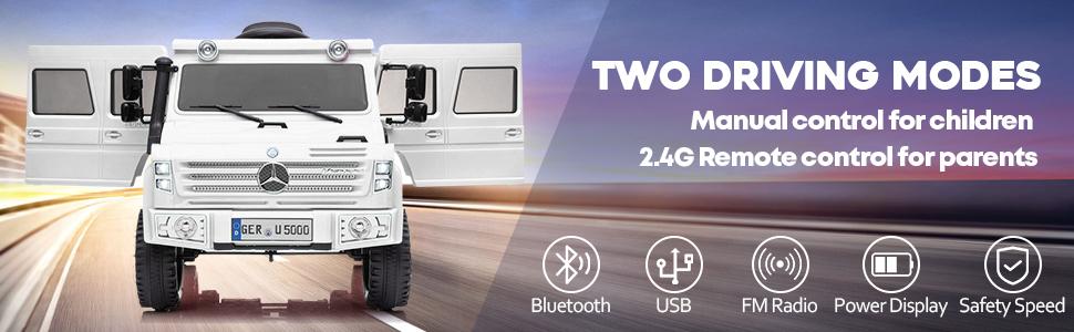 6V Mercedes Benz Unimog U500 Kids Ride on SUV Car with Remote Control, White 11 27