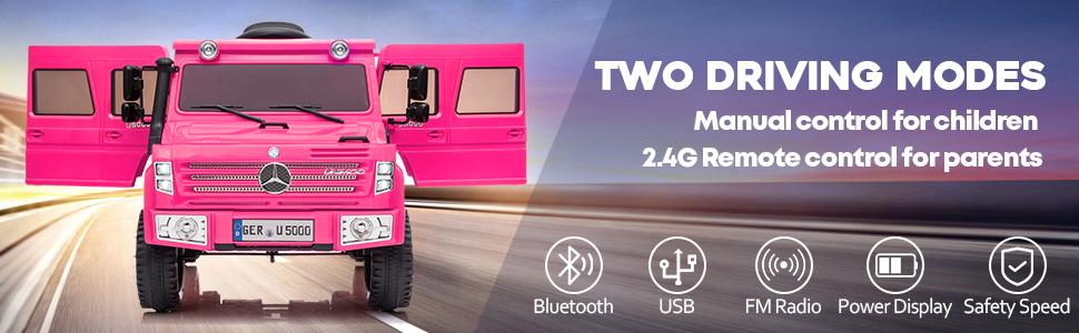 6V Mercedes Benz Unimog U500 Kids Ride on SUV Car with Remote Control, Rose Red 11 30