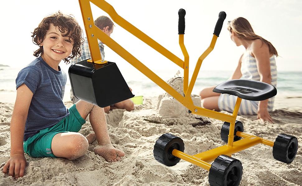 Kids Ride On Sandbox Digger Toys Little Sandbox Excavator for Boys and Girls, Yellow 11 6