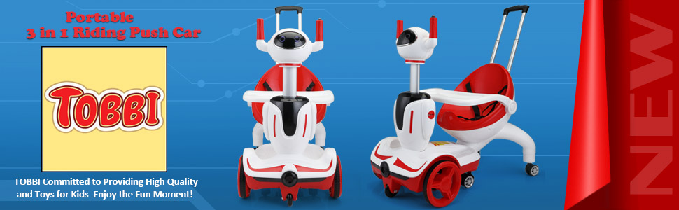 Three-in-one Robot Kids Electric Buggy With Baby Carriages, Red + White 11