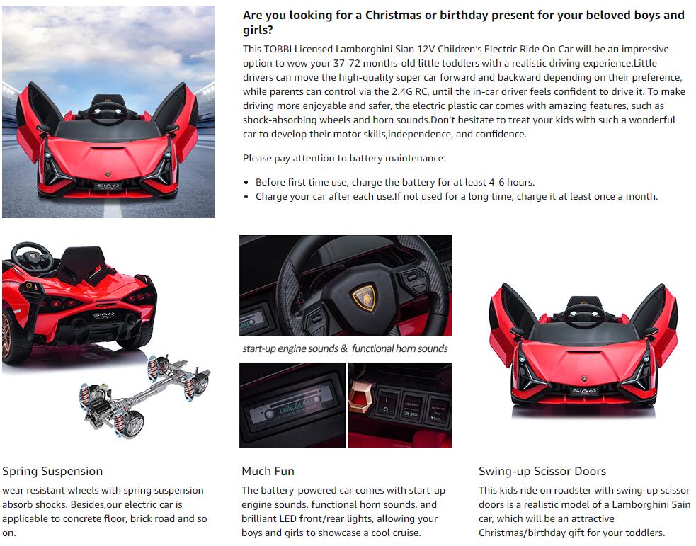 12V Lamborghini Sian Electric Kids Ride On Car with Remote Control, Red 12 1