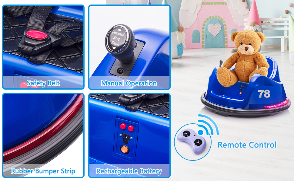 6V Electric Baby Bumper Car with Remote Control, Dark Blue 12 12