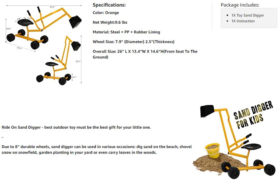 Kids Ride On Sandbox Digger Toys Little Sandbox Excavator for Boys and Girls, Yellow 12 2