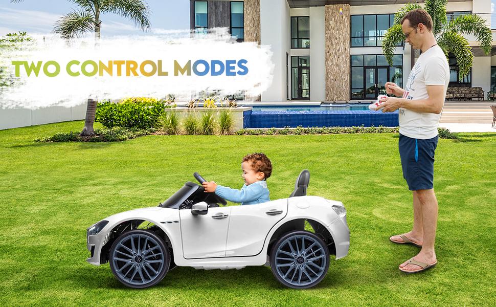 Maserati Kids Car 12V Ride On With Remote, White 12 24