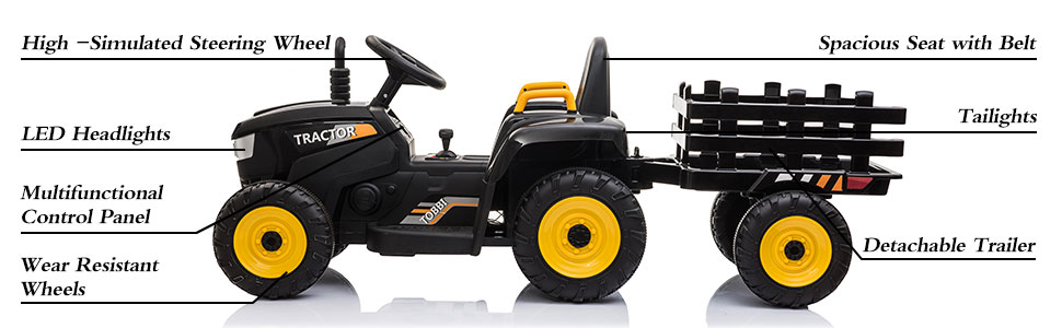 12V Electric Kids Ride-On Tractor with Trailer, Black 12 25