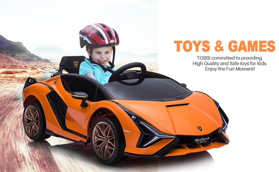 12V Licensed Lamborghini Sian Battery Powered Kids Ride On Car with Remote Control, Orange 12 3
