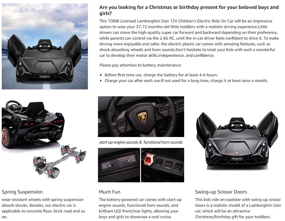 12V Lamborghini Sian Ride on Kids Electric Car with Remote Control, Black 12 3