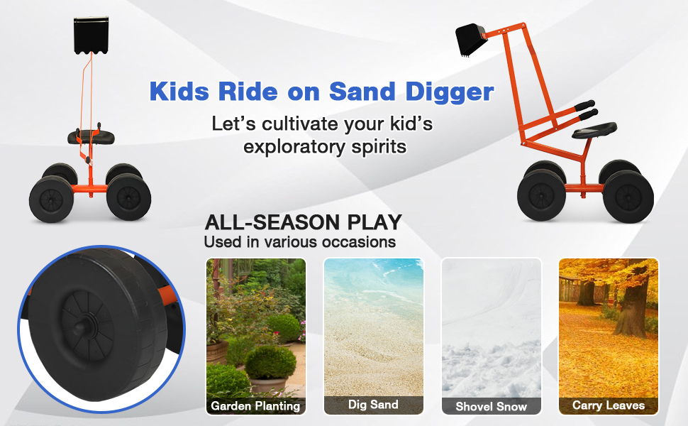 Kids Ride On Sandbox Digger Toys Little Sandbox Excavator for Boys and Girls, Orange 12 5
