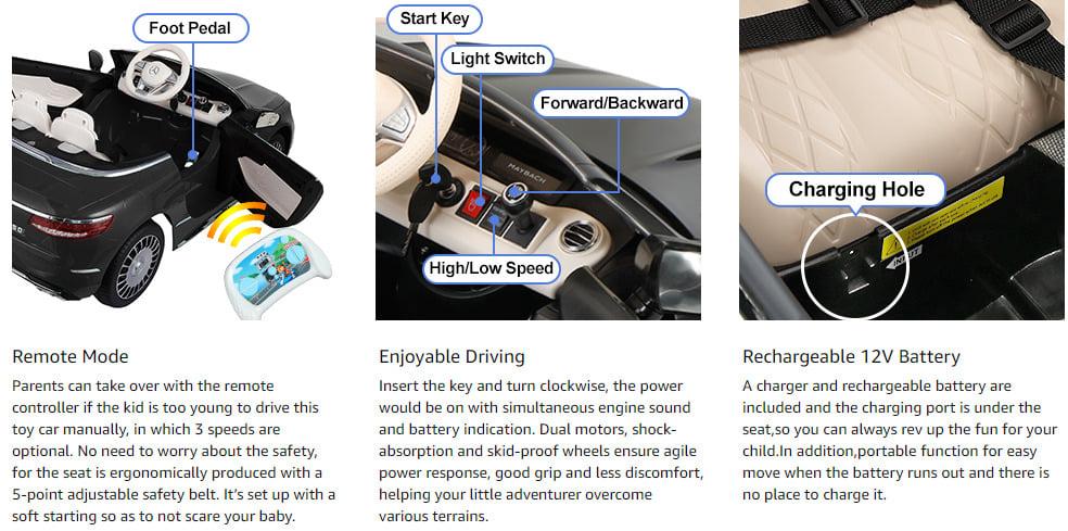 12V Mercedes Kids Ride on Car with Remote Conrtol, Black 12 6 1