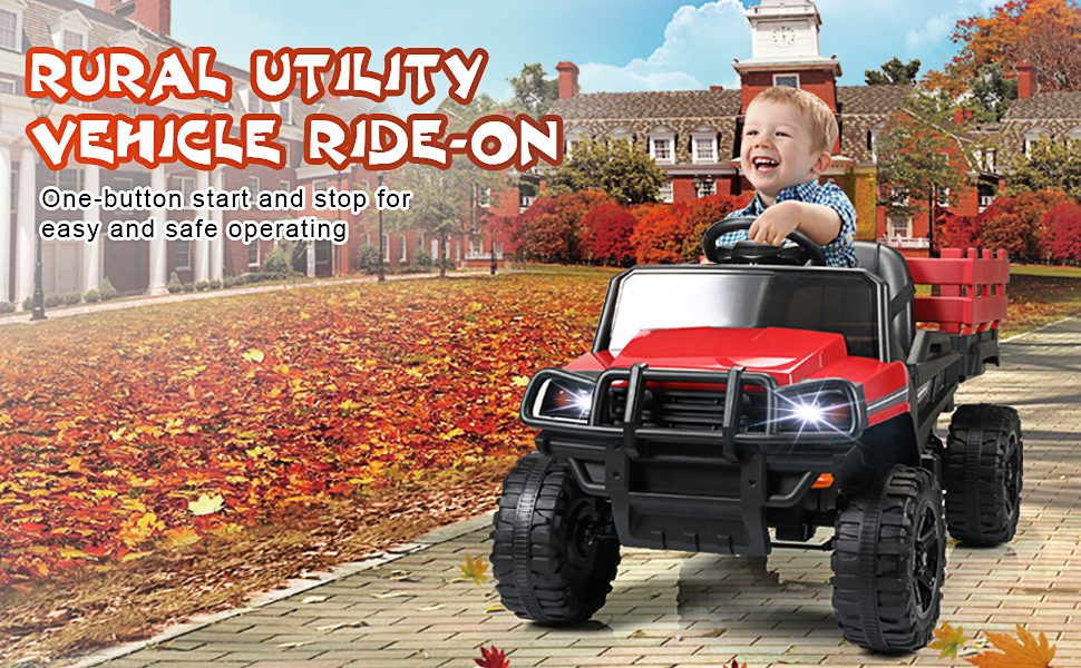 12V Electric Truck for Kids with Remote Control Ride On Toy with Trailer, Red 12 6