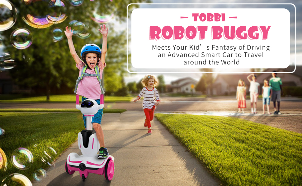 Three-in-one Robot Kids Electric Buggy With Remote Control & Baby Carriages, Rose Red + White 12 8