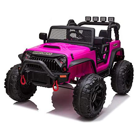 12V Kids Ride On Electric Truck, Rose Red