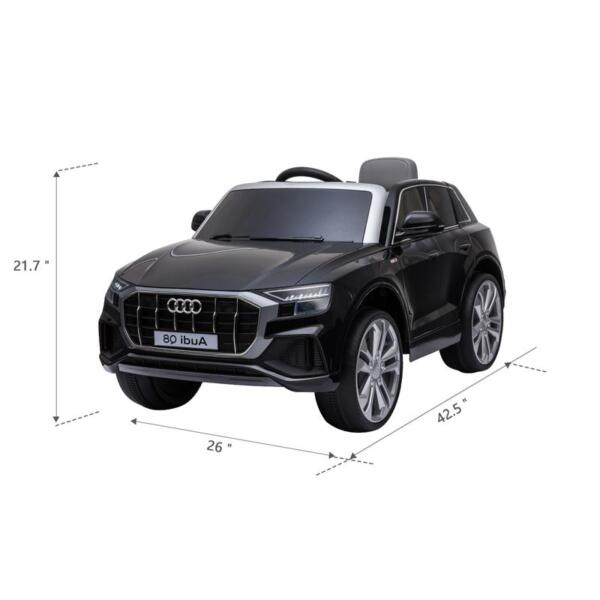 12V Audi Q8 Toy Cars For Kids Ride On Toy With Remote, Black 12v audi q8 kids ride on car black 17 2