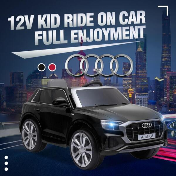 12V Audi Q8 Toy Cars For Kids Ride On Toy With Remote, Black 12v audi q8 kids ride on car black 23 1