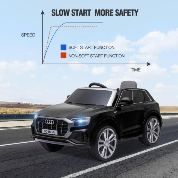 12V Audi Q8 Toy Cars For Kids Ride On Toy With Remote, Black 12v audi q8 kids ride on car black 24