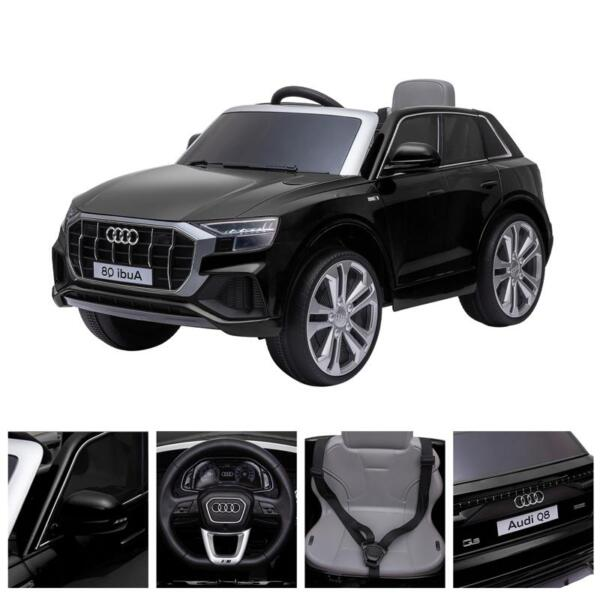 12V Audi Q8 Toy Cars For Kids Ride On Toy With Remote, Black 12v audi q8 kids ride on car black 42