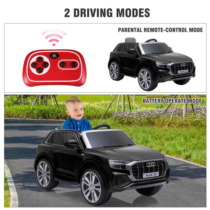 12V Audi Q8 Toy Cars For Kids Ride On Toy With Remote, Black 12v audi q8 kids ride on car black 44 2