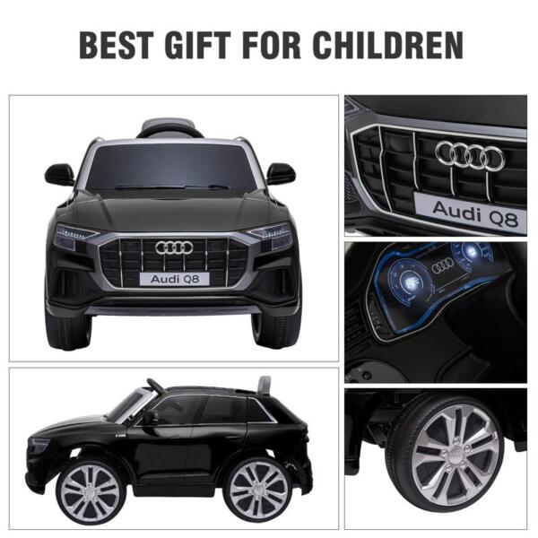 12V Audi Q8 Toy Cars For Kids Ride On Toy With Remote, Black 12v audi q8 kids ride on car black 46
