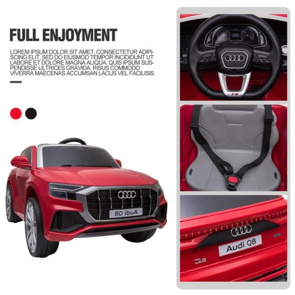 12V Audi Q8 Kids Electric Car With Remote Control, Red 12v audi q8 kids ride on car red 45
