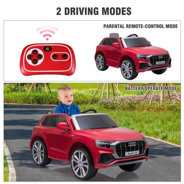 12V Audi Q8 Kids Electric Car With Remote Control, Red 12v audi q8 kids ride on car red 48 1