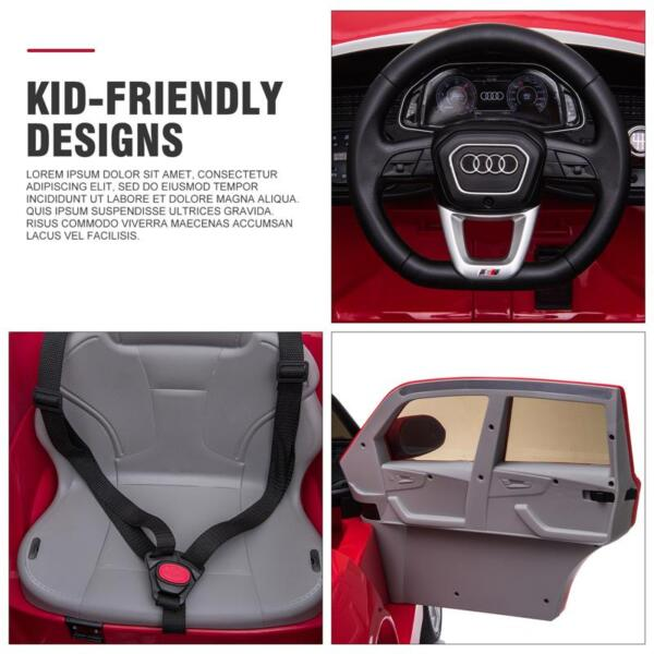 12V Audi Q8 Kids Electric Car With Remote Control, Red 12v audi q8 kids ride on car red 49 1