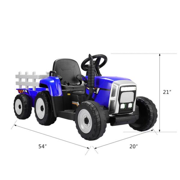 12V Electric Kids Ride-On Tractor with Trailer, Blue 12v battery powered tractor with trailer black 2 0