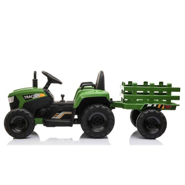 12V Electric Kids Ride-On Tractor with Trailer, Dark Green 12v battery powered tractor with trailer dark green 12