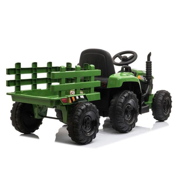 12V Electric Kids Ride-On Tractor with Trailer, Dark Green 12v battery powered tractor with trailer dark green 16