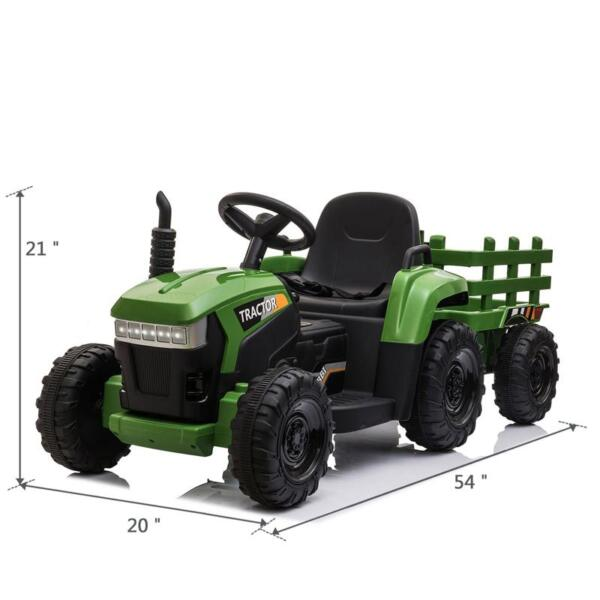12V Electric Kids Ride-On Tractor with Trailer, Dark Green 12v battery powered tractor with trailer dark green 18 1