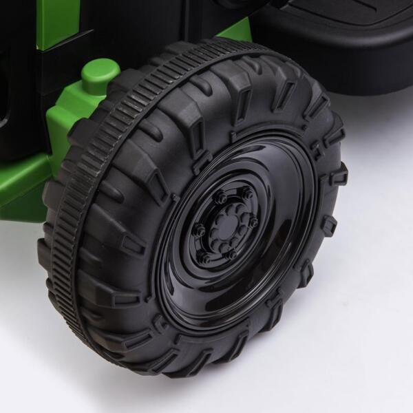 12V Electric Kids Ride-On Tractor with Trailer, Dark Green 12v battery powered tractor with trailer dark green 2