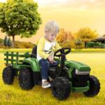 12V Electric Kids Ride-On Tractor with Trailer, Dark Green 12v battery powered tractor with trailer dark green 21