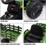 12V Electric Kids Ride-On Tractor with Trailer, Dark Green 12v battery powered tractor with trailer dark green 24