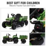 12V Electric Kids Ride-On Tractor with Trailer, Dark Green 12v battery powered tractor with trailer dark green 25 1