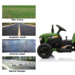 12V Electric Kids Ride-On Tractor with Trailer, Dark Green 12v battery powered tractor with trailer dark green 26