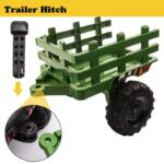 12V Electric Kids Ride-On Tractor with Trailer, Dark Green 12v battery powered tractor with trailer dark green 27 1