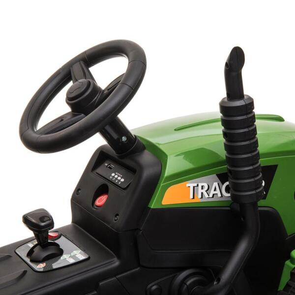 12V Electric Kids Ride-On Tractor with Trailer, Dark Green 12v battery powered tractor with trailer dark green 5
