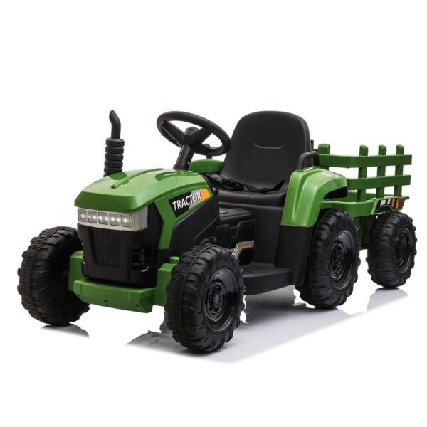12V Electric Kids Ride-On Tractor with Trailer, Dark Green 12v battery powered tractor with trailer dark green 7