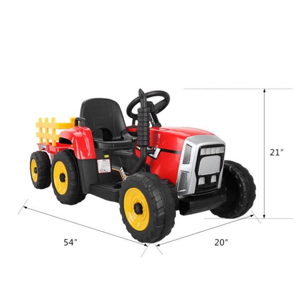 12v Battery-Powered Tractor with Trailer, Red 12v battery powered tractor with trailer red 0