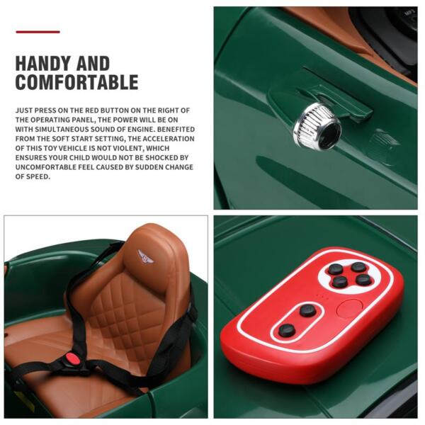 12V Bentley Ride On Car With Remote Control For Kids, Blackish Green 12v bentley licensed electric kids ride on racer car red 27 1