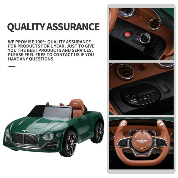 12V Bentley Ride On Car With Remote Control For Kids, Blackish Green 12v bentley licensed electric kids ride on racer car red 29