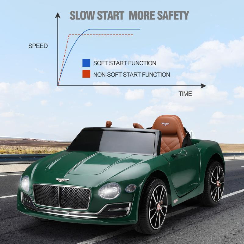 12V Bentley Ride On Car With Remote Control For Kids, Blackish Green 12v bentley licensed electric kids ride on racer car red 38 1