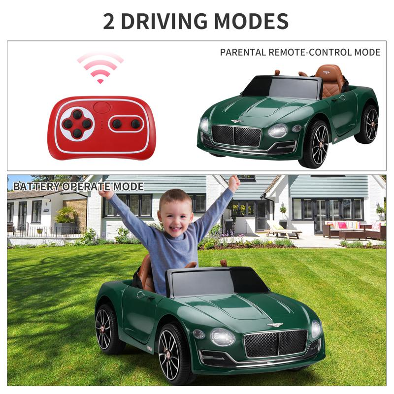 12V Bentley Ride On Car With Remote Control For Kids, Blackish Green 12v bentley licensed electric kids ride on racer car red 39 1