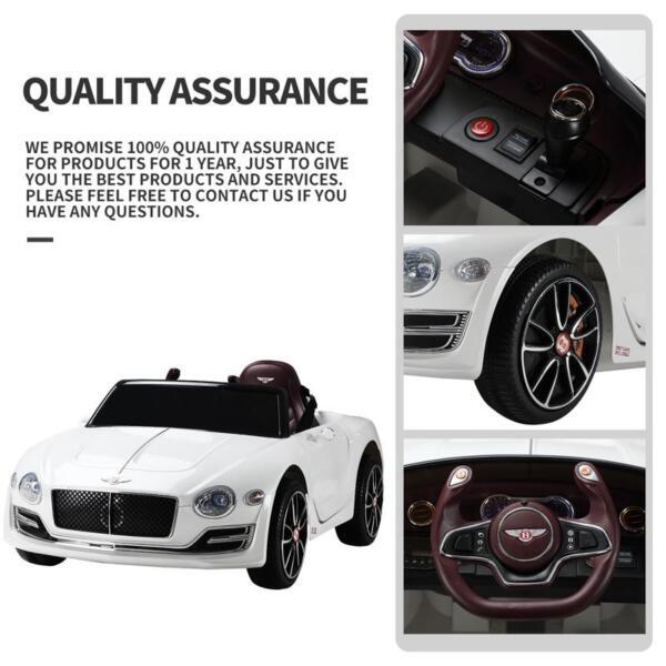 12V Bentley Licensed Kids Ride On Racer Car, White 12v bentley licensed kids ride on racer car white 16
