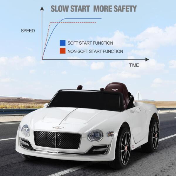 12V Bentley Licensed Kids Ride On Racer Car, White 12v bentley licensed kids ride on racer car white 26 1