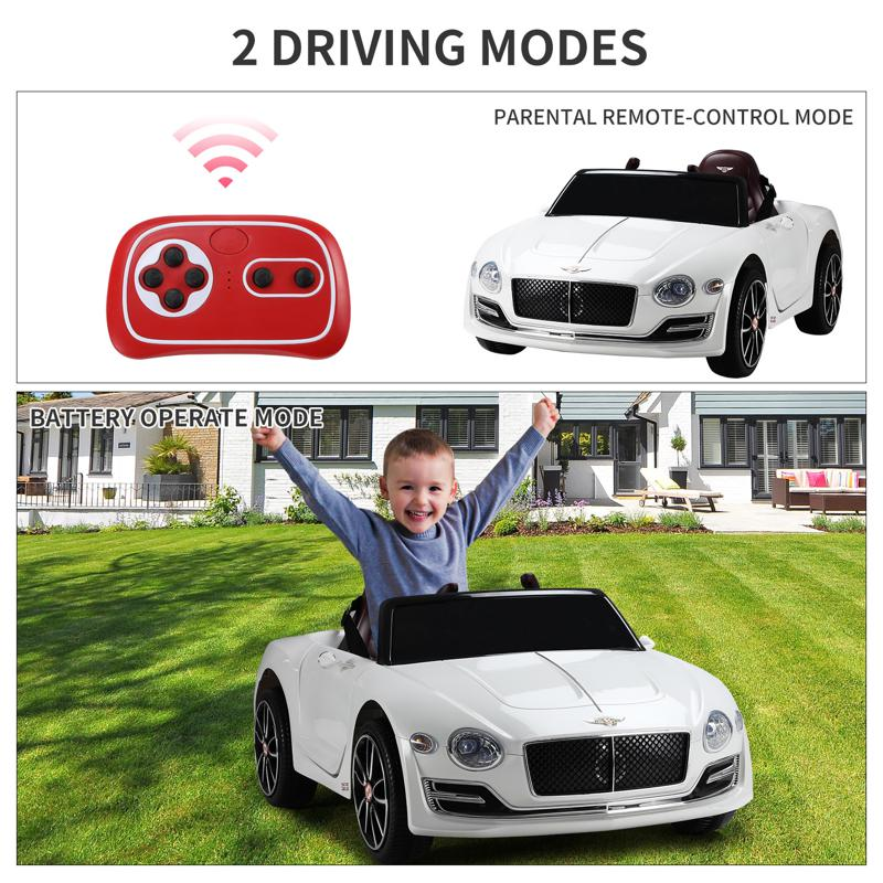 12V Bentley Ride On Car With Remote Control For Kids, White 12v bentley licensed kids ride on racer car white 27 2