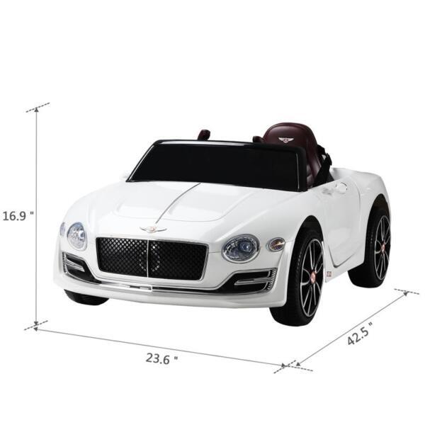 12V Bentley Licensed Kids Ride On Racer Car, White 12v bentley licensed kids ride on racer car white 3