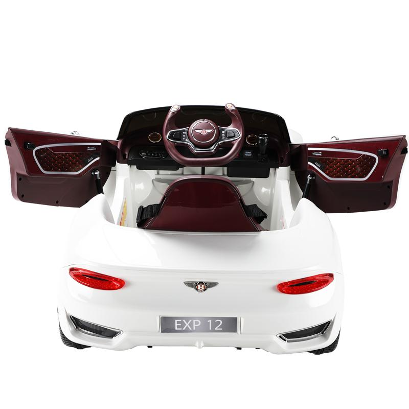 12V Bentley Ride On Car With Remote Control For Kids, White 12v bentley licensed kids ride on racer car white 38 1