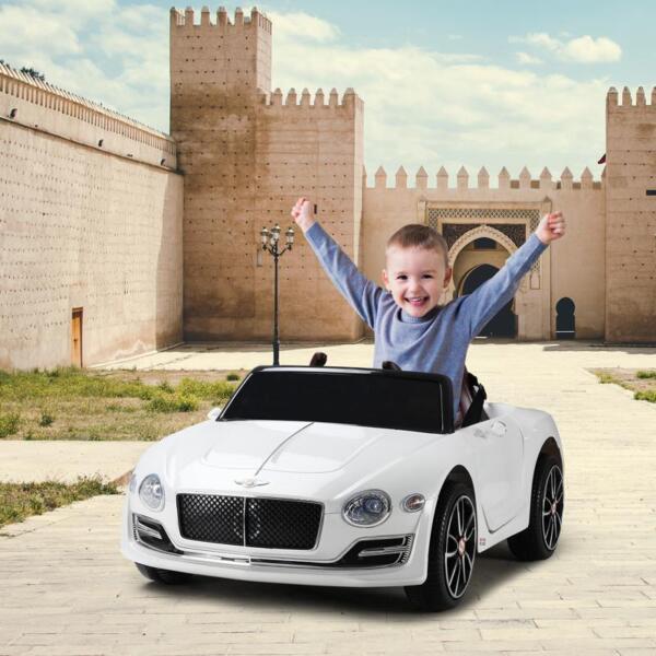 12V Bentley Licensed Kids Ride On Racer Car, White 12v bentley licensed kids ride on racer car white 6